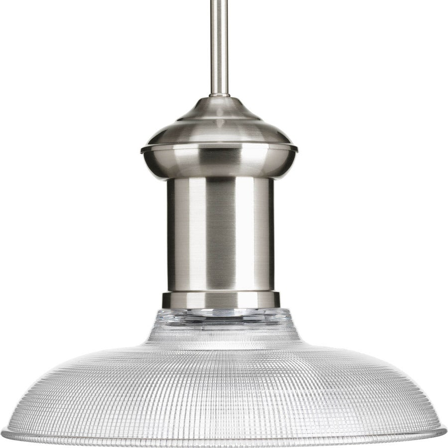 Progress Lighting Brookside 12-in Brushed Nickel Mini Etched Glass Dome Pendant