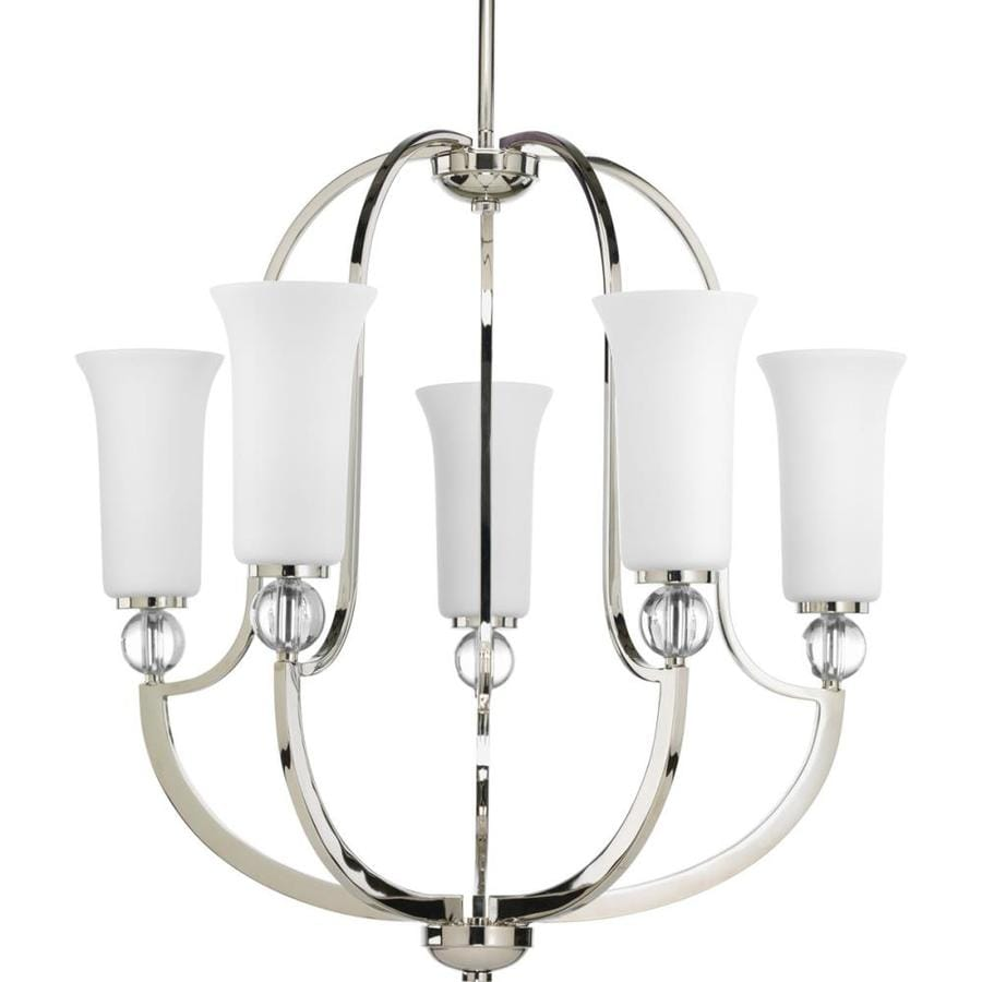 Progress Lighting Elina 24.5-in 5-Light Polished Nickel Etched Glass Shaded Chandelier