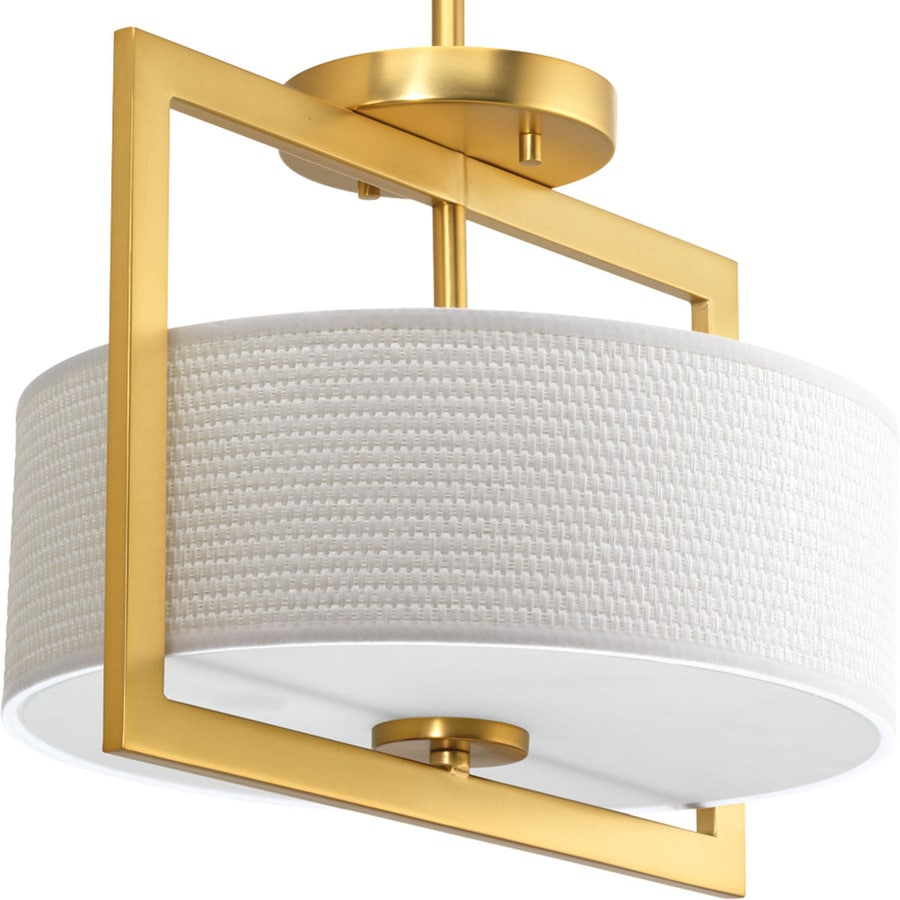 Progress Lighting Harmony 12.75-in W Natural Brass Fabric Semi-Flush Mount Light