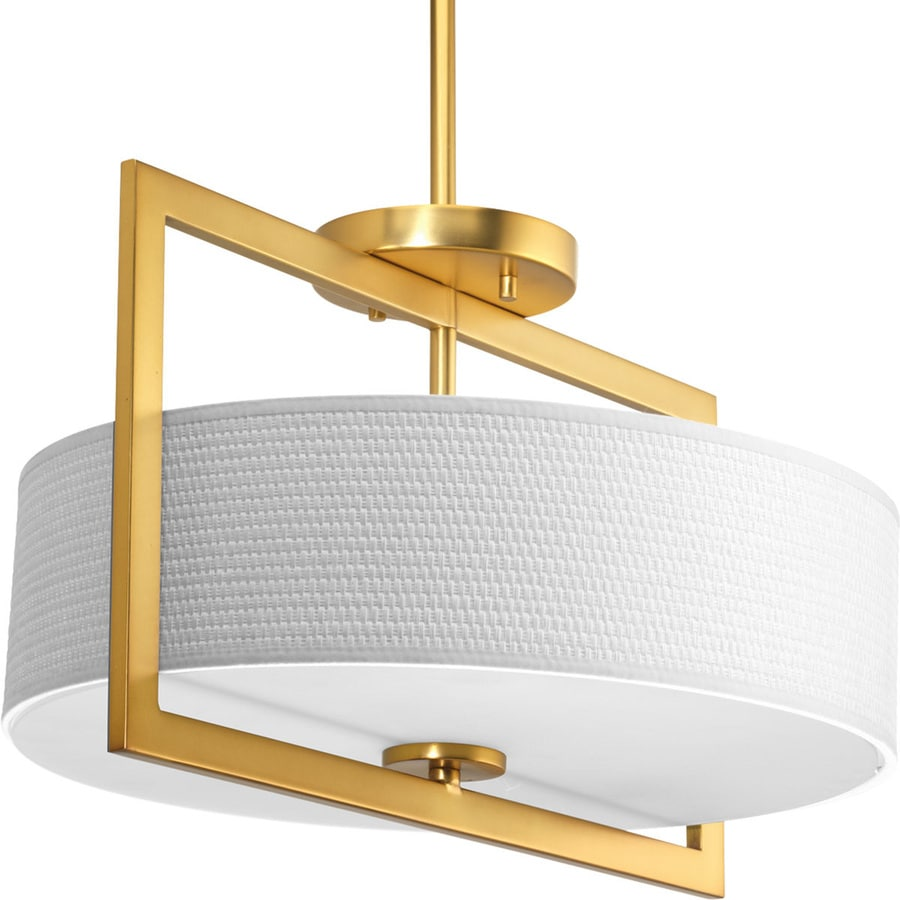 Progress Lighting Harmony 15-in W Natural Brass Fabric Semi-Flush Mount Light