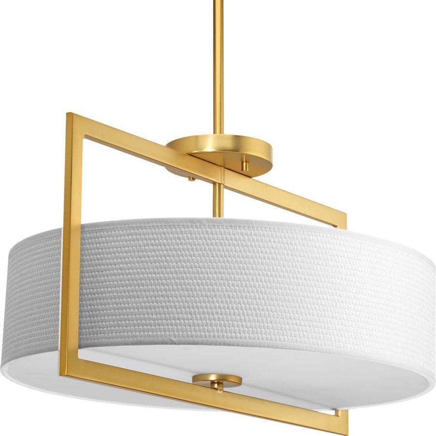 Progress Lighting Harmony 18-in W Natural Brass Fabric Semi-Flush Mount Light