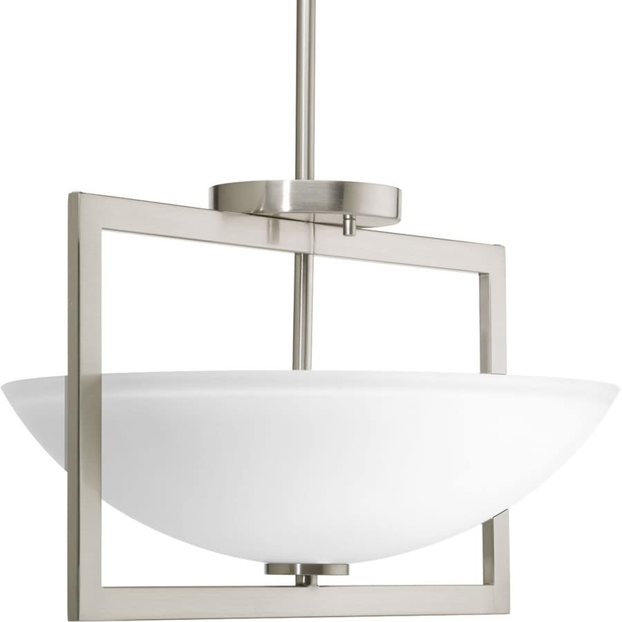 Progress Lighting Harmony 15-in W Brushed Nickel Etched Glass Semi-Flush Mount Light
