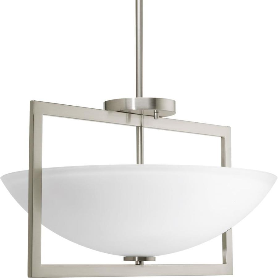 Progress Lighting Harmony 18-in W Brushed Nickel Etched Glass Semi-Flush Mount Light
