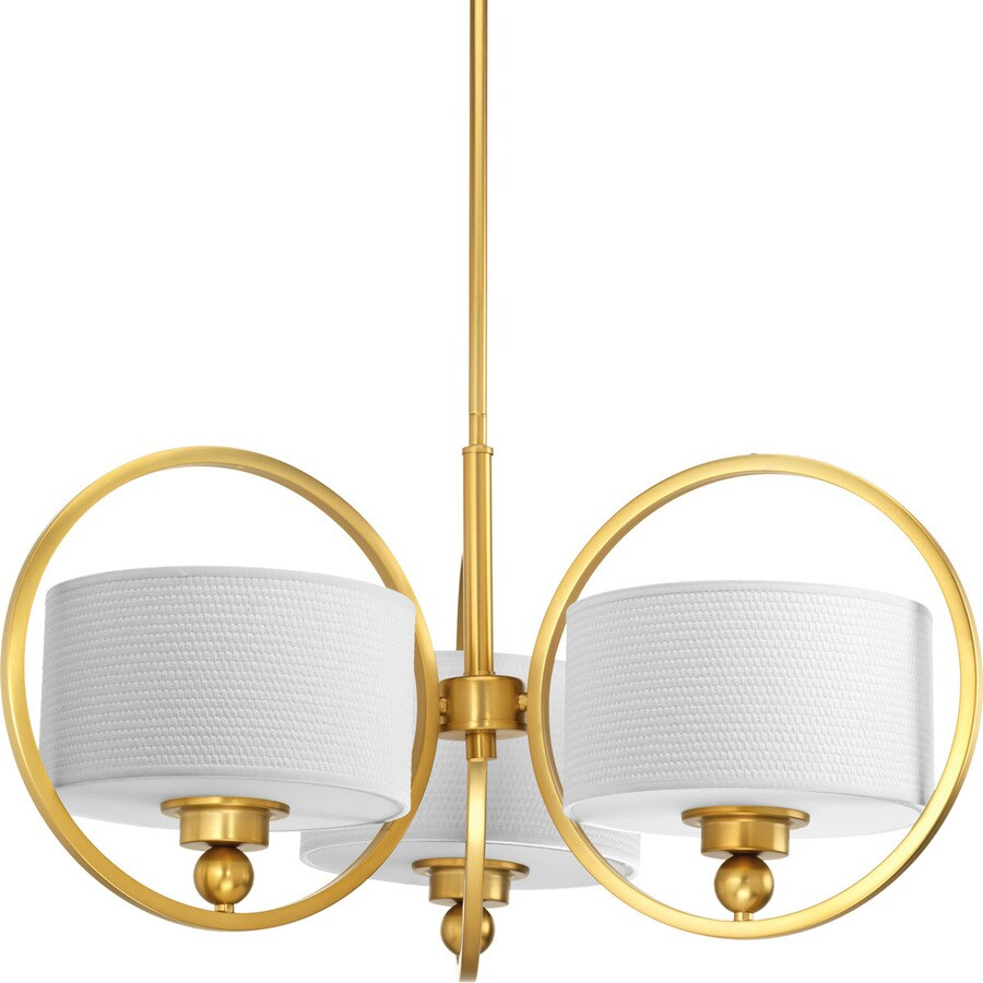 Progress Lighting Harmony 26.625-in 3-Light Natural Brass Shaded Chandelier