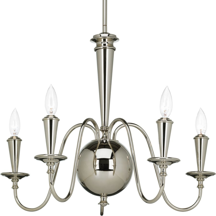 Progress Lighting Identity 23.75-in 5-Light Polished Nickel Shaded Chandelier