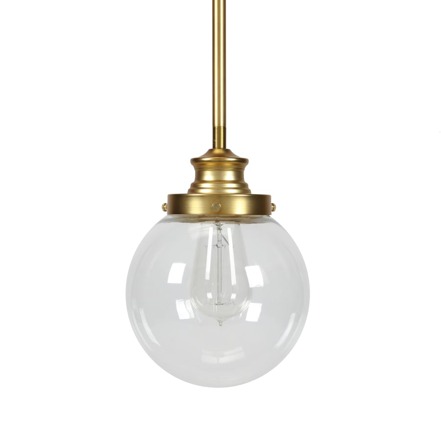 Progress Lighting Penn 6.875-in Natural Brass Mini Clear Glass Globe Pendant