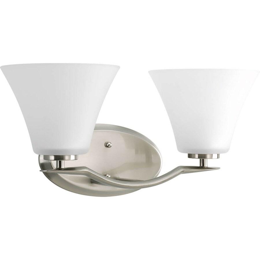 Progress Lighting Bravo 2-Light 8.5-in Brushed Nickel Bell Vanity Light