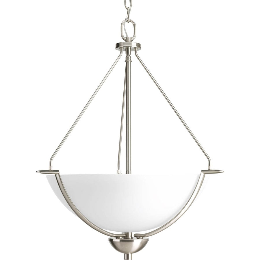 Progress Lighting Bravo 21-in 3-Light Brushed Nickel Etched Glass Shaded Chandelier