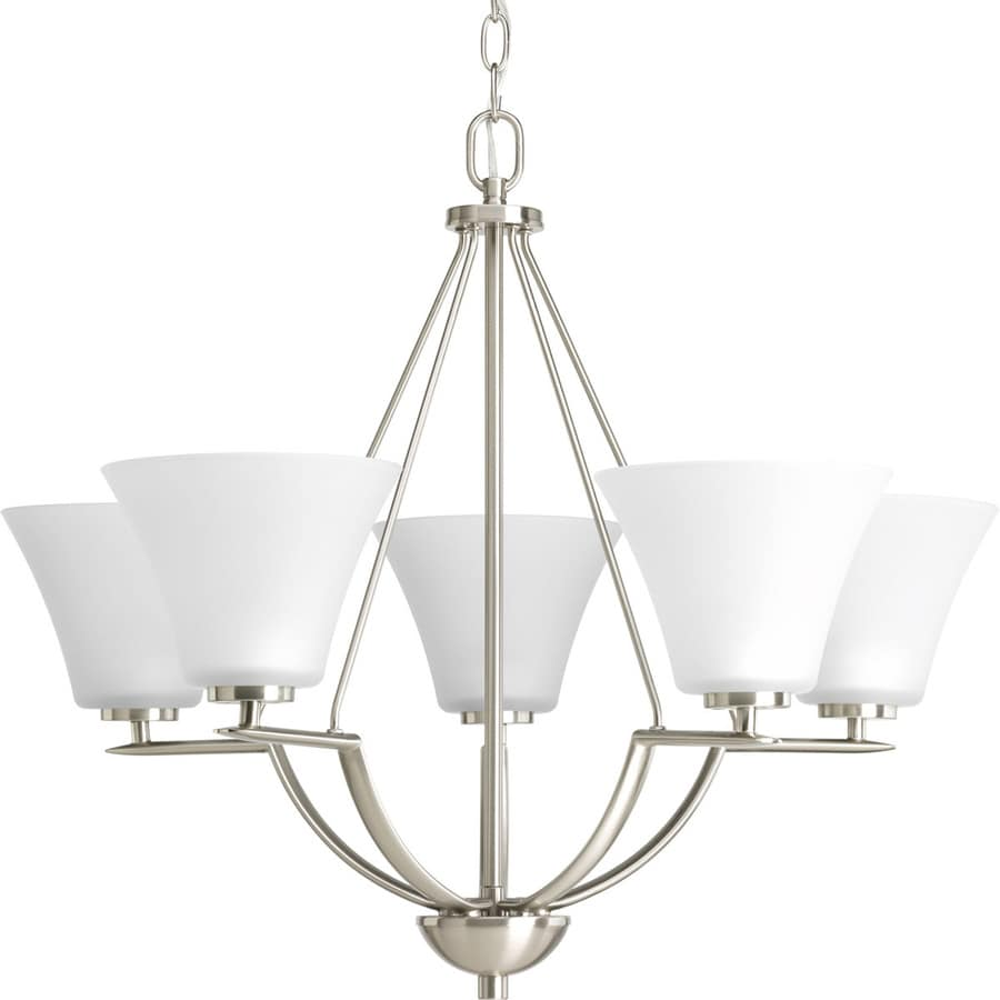 Progress Lighting Bravo 27-in 5-Light Brushed Nickel Etched Glass Shaded Chandelier