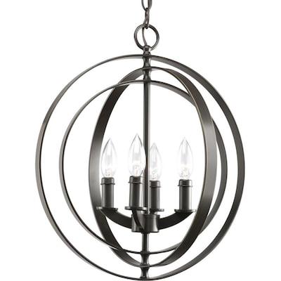 Equinox 4 Light Antique Bronze Transitional Globe Chandelier