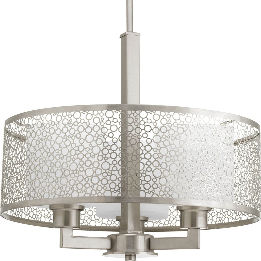 Progress Lighting Mingle 17-in Brushed Nickel Single Etched Glass Cylinder Pendant