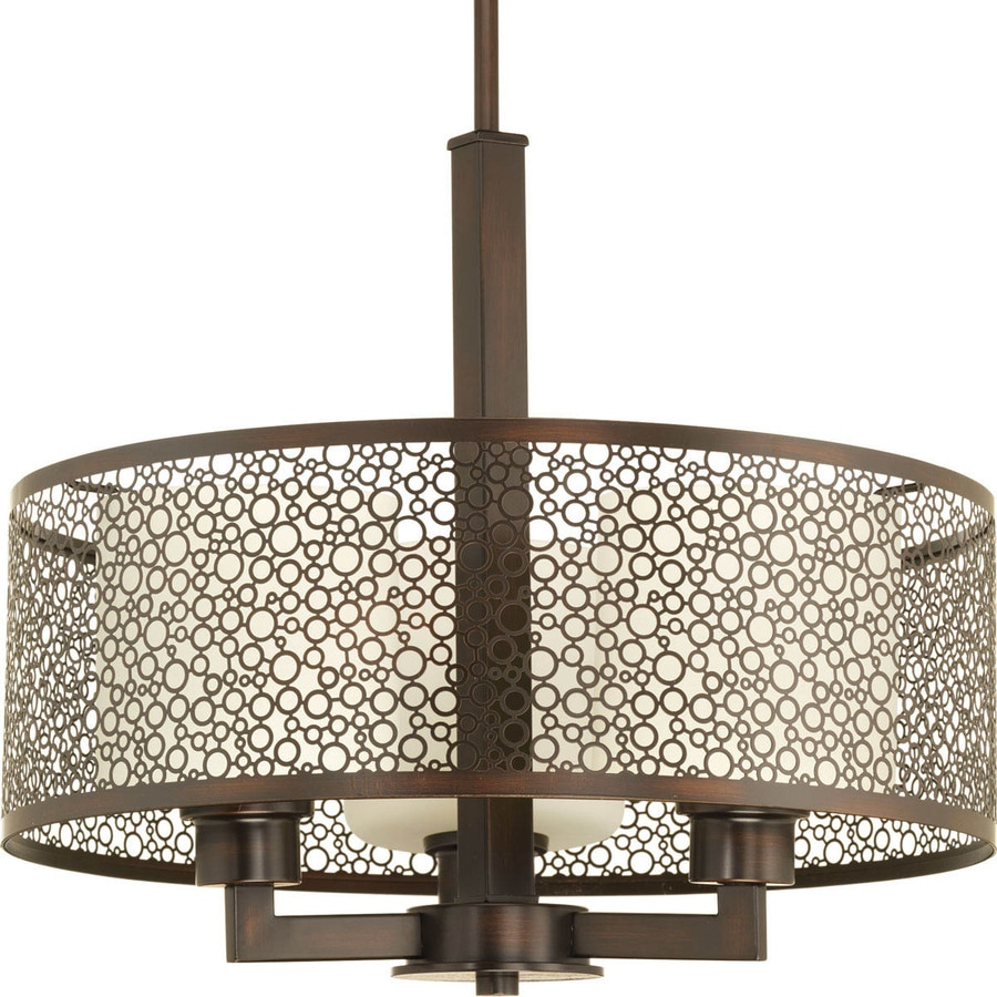 Progress Lighting Mingle 17-in Antique Bronze Single Tinted Glass Cylinder Pendant
