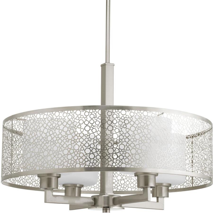 Progress Lighting Mingle 21-in Brushed Nickel Single Etched Glass Cylinder Pendant
