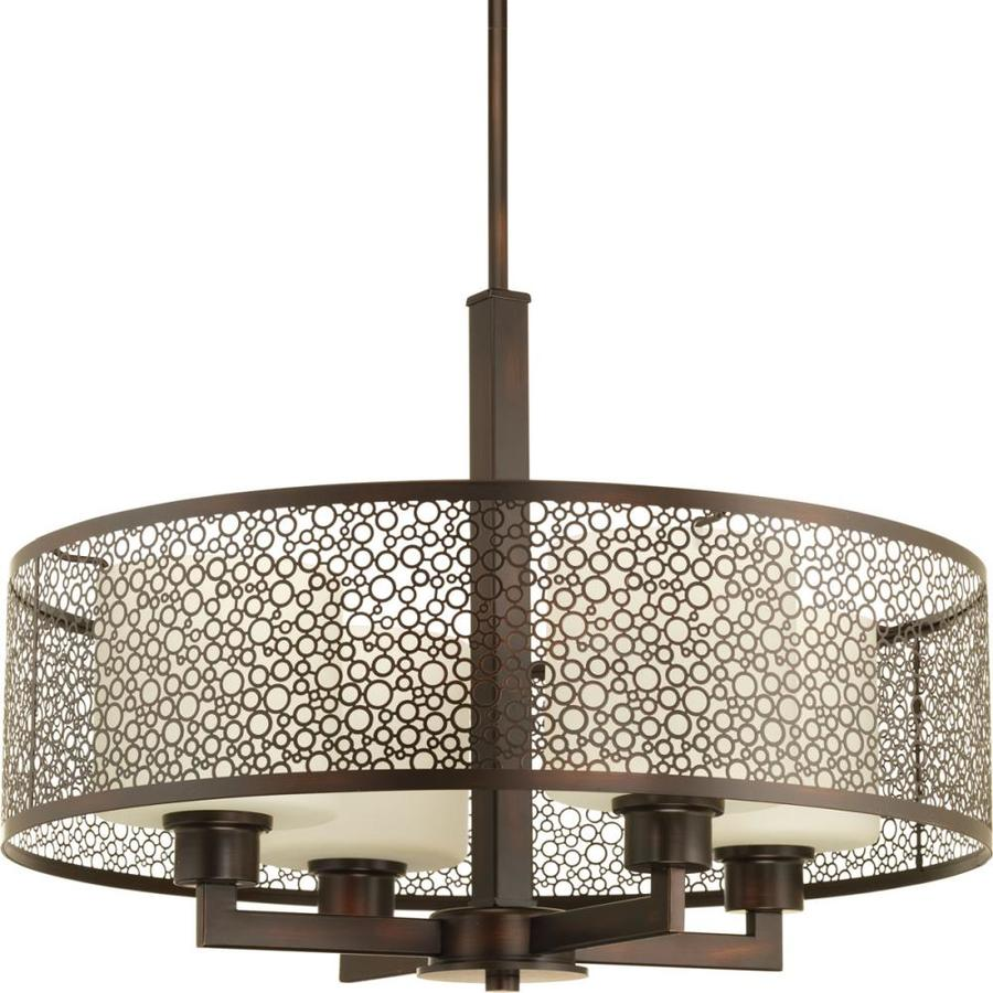Progress Lighting Mingle 21-in Antique Bronze Single Tinted Glass Cylinder Pendant
