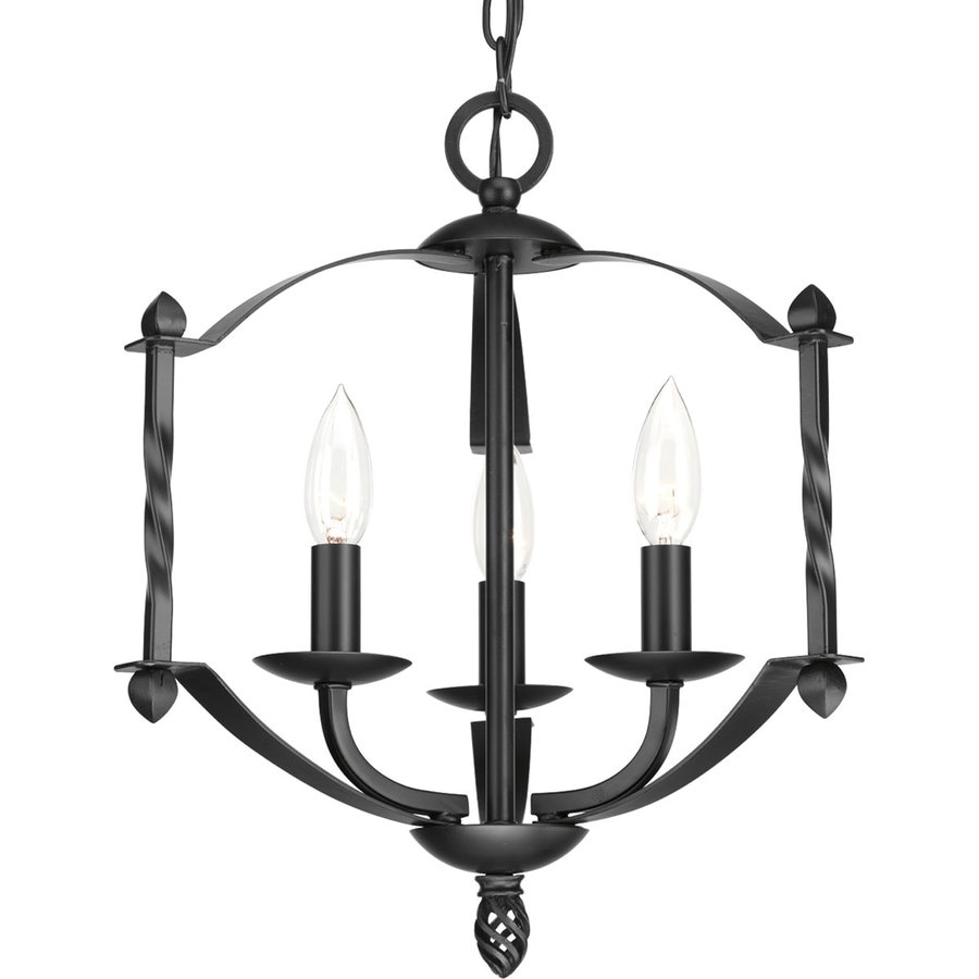 Progress Lighting Greyson 14.25-in 3-Light Black Rustic Candle Chandelier