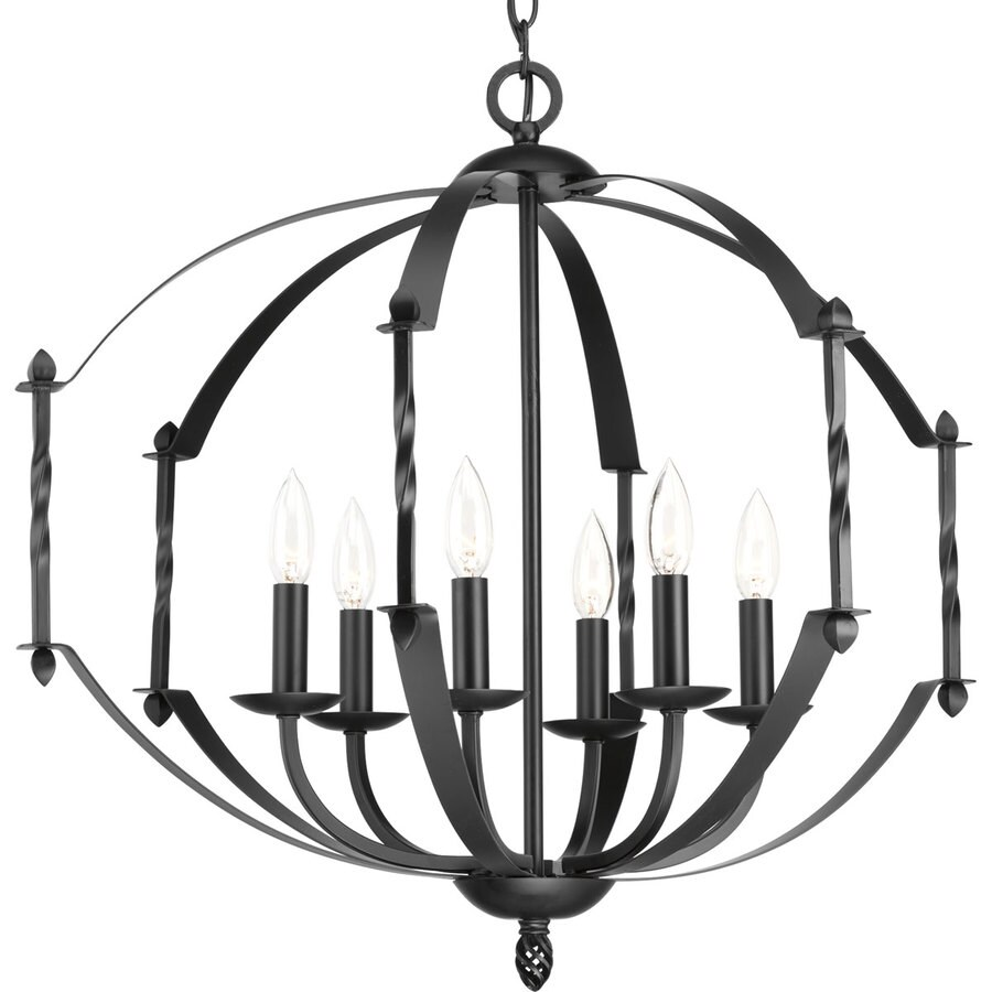 Progress Lighting Greyson 26-in 6-Light Black Rustic Candle Chandelier