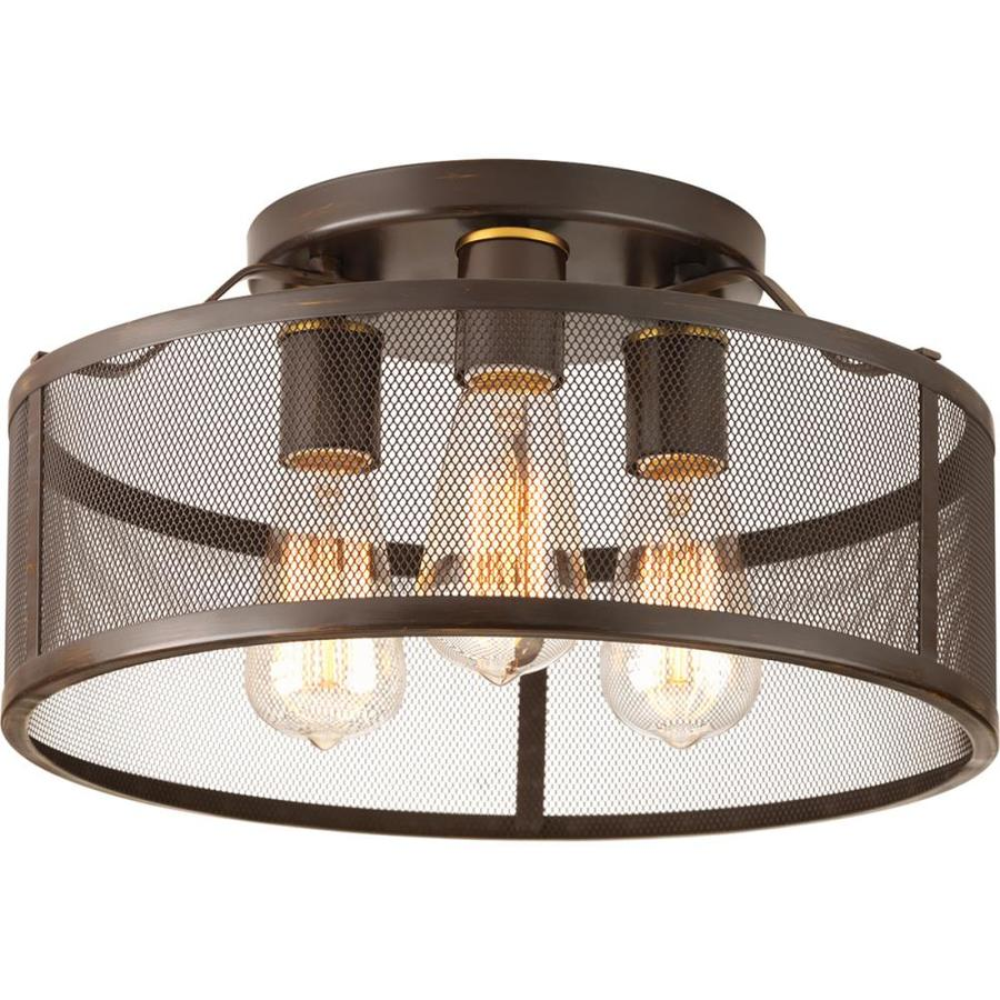 Shop Progress Lighting Swing 15 In W Antique Bronze Flush Mount Light At