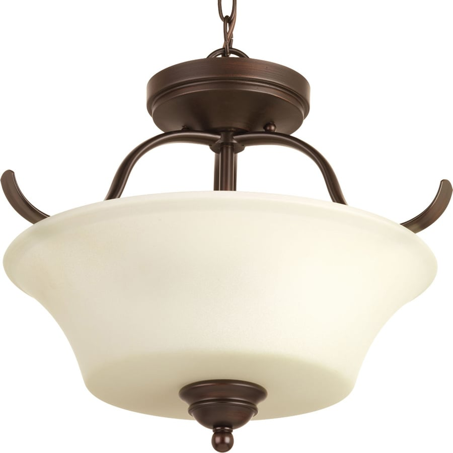 Progress Lighting Applause 15.75-in W Antique Bronze Frosted Glass Semi-Flush Mount Light