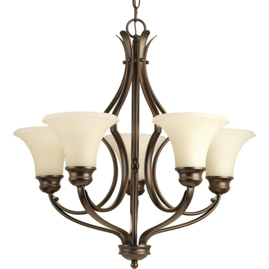 Progress Lighting Applause 24.5-in 5-Light Antique bronze Tinted Glass Shaded Chandelier