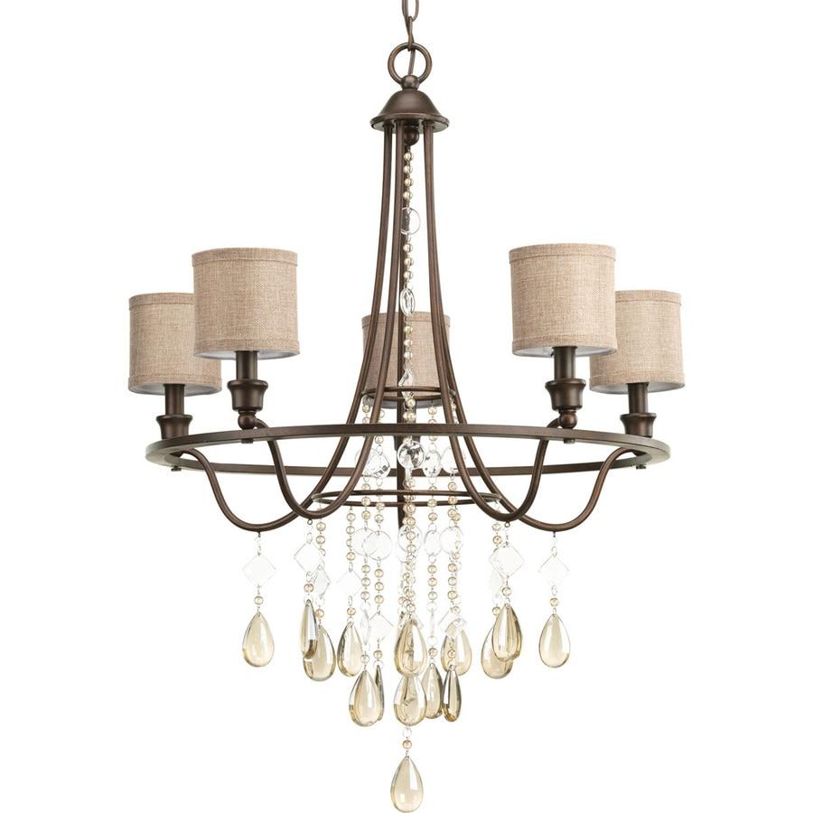 Progress Lighting Flourish 25.875-in 5-Light Cognac Crystal Drum Chandelier