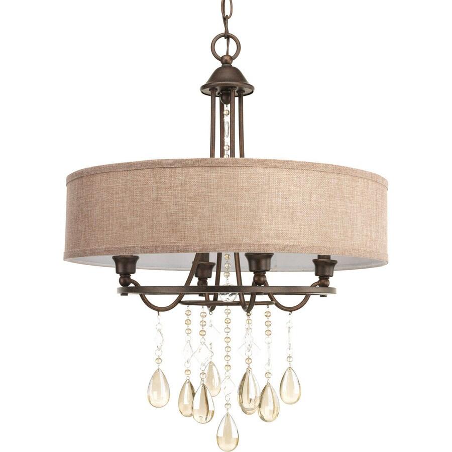 Progress Lighting Flourish 20.25-in Cognac Single Tinted Glass Bell Pendant
