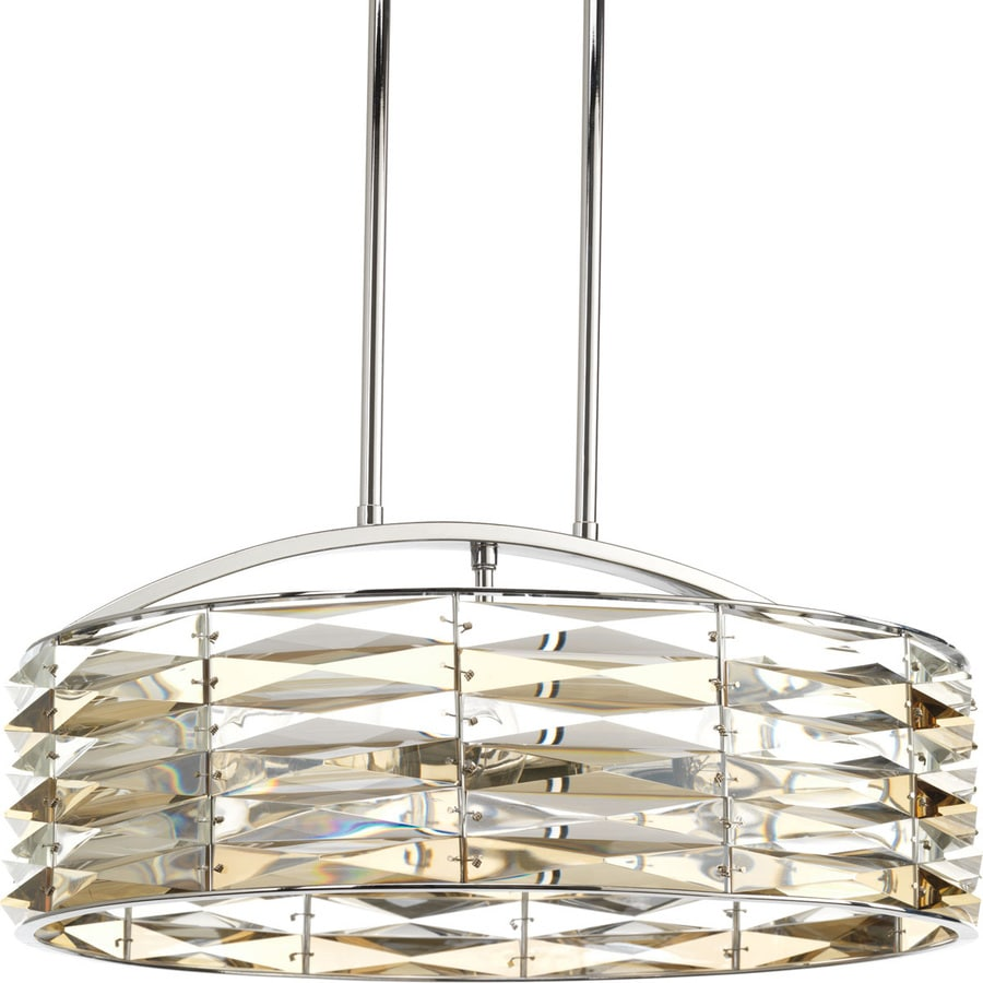 Progress Lighting The Pointe 19-in 6-Light Polished Chrome Crystal Clear Glass Linear Mini Chandelier
