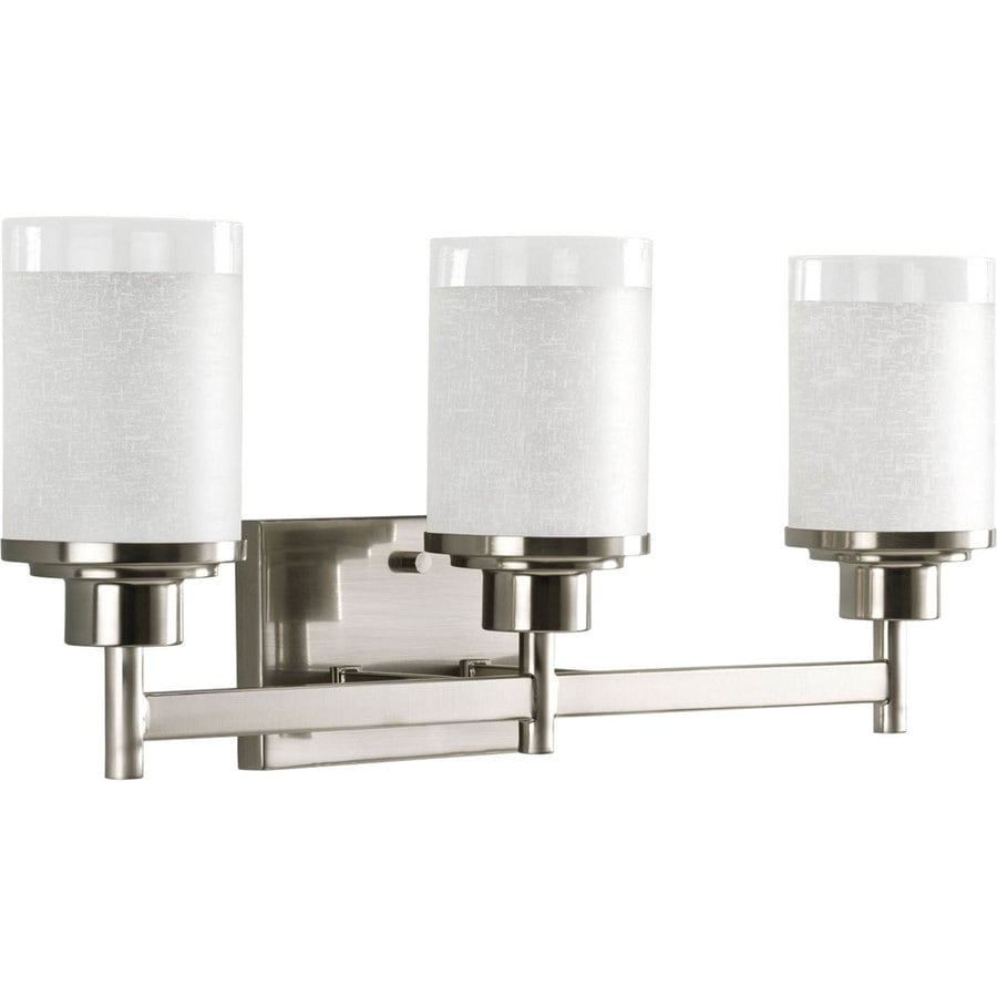 Lantern Bathroom Vanity Lights : Shop Progress Lighting Alexa 3-Light 9.375-in Brushed Nickel Bell Vanity Light at Lowes.com