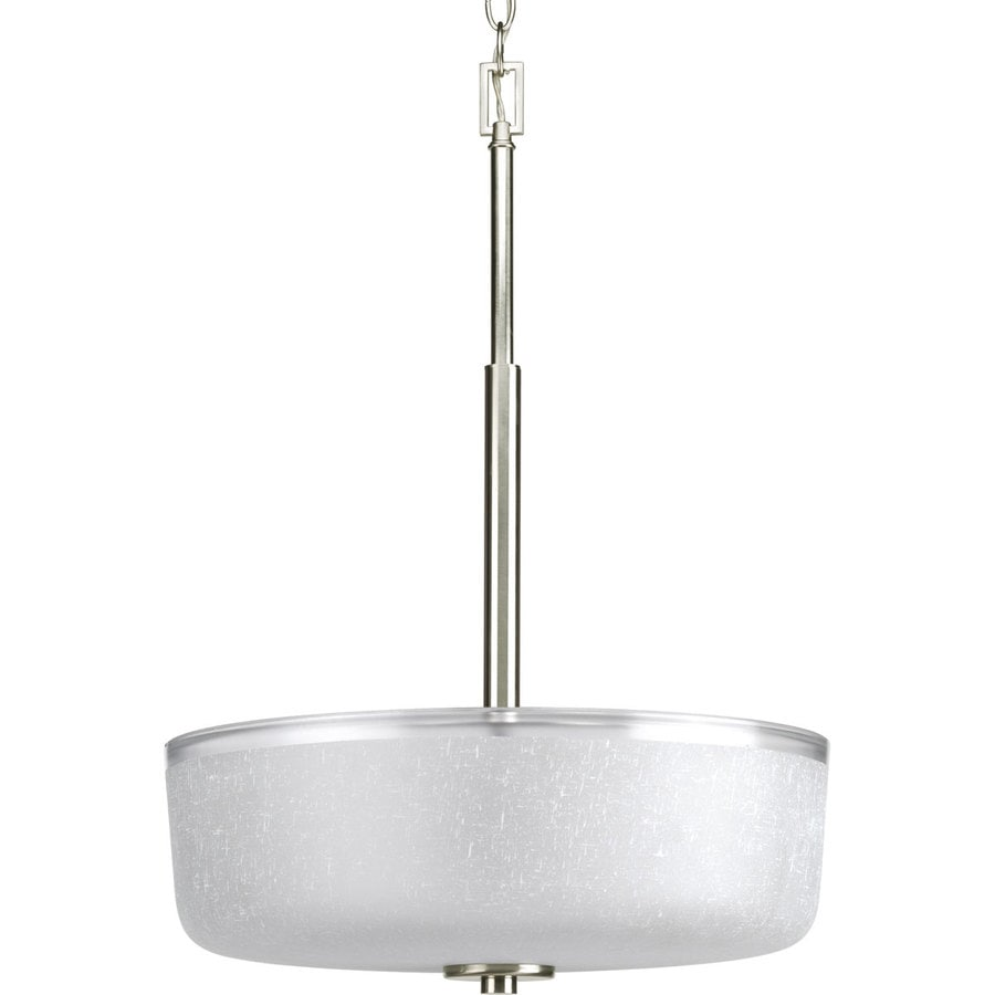 Progress Lighting Alexa 18-in 3-Light Brushed Nickel Shaded Chandelier