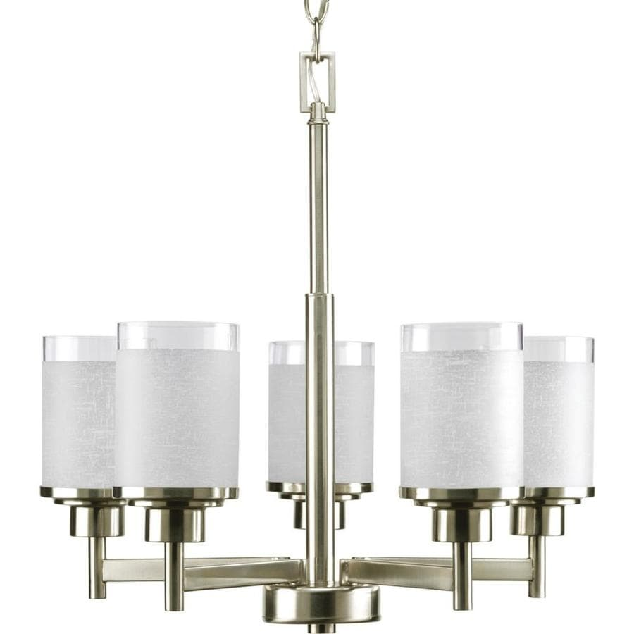 Progress Lighting Alexa 20-in 5-Light Brushed Nickel Shaded Chandelier