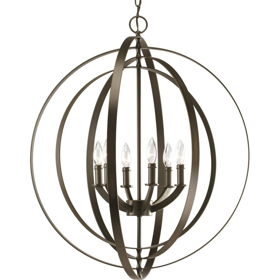 dining room light fixtures lowes. Progress Lighting Equinox 27 75 in 6 Light Antique bronze Globe Chandelier Shop