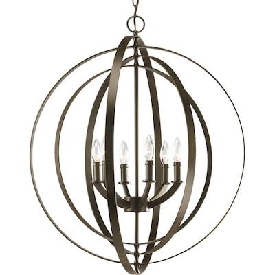 Equinox 6 Light Antique Bronze Transitional Globe Chandelier
