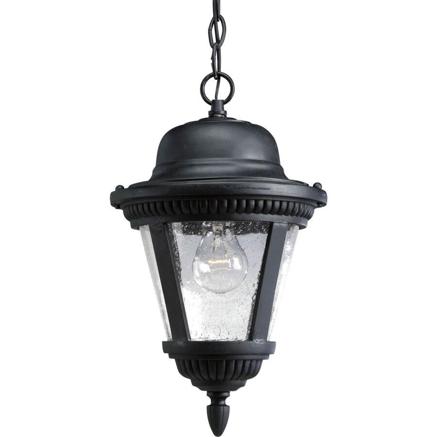 Progress Lighting Westport 14.875-in Textured Black Outdoor Pendant Light