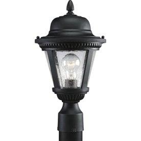 lowes exterior lighting lamp post progress lighting westport 1625in textured black post light outdoor at lowescom