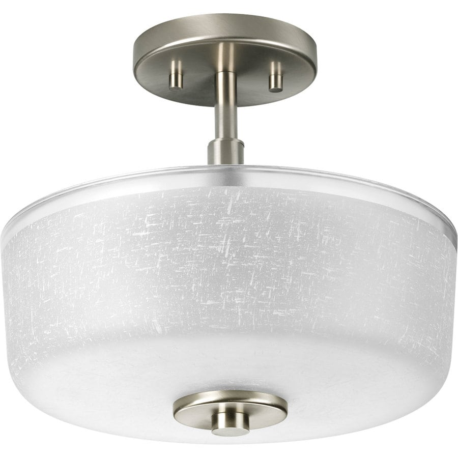 Progress Lighting Alexa 12.25-in W Brushed Nickel Clear Glass Semi-Flush Mount Light