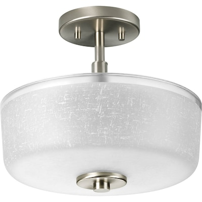 Alexa 12 25 In W Brushed Nickel Clear Gl Semi Flush Mount Light