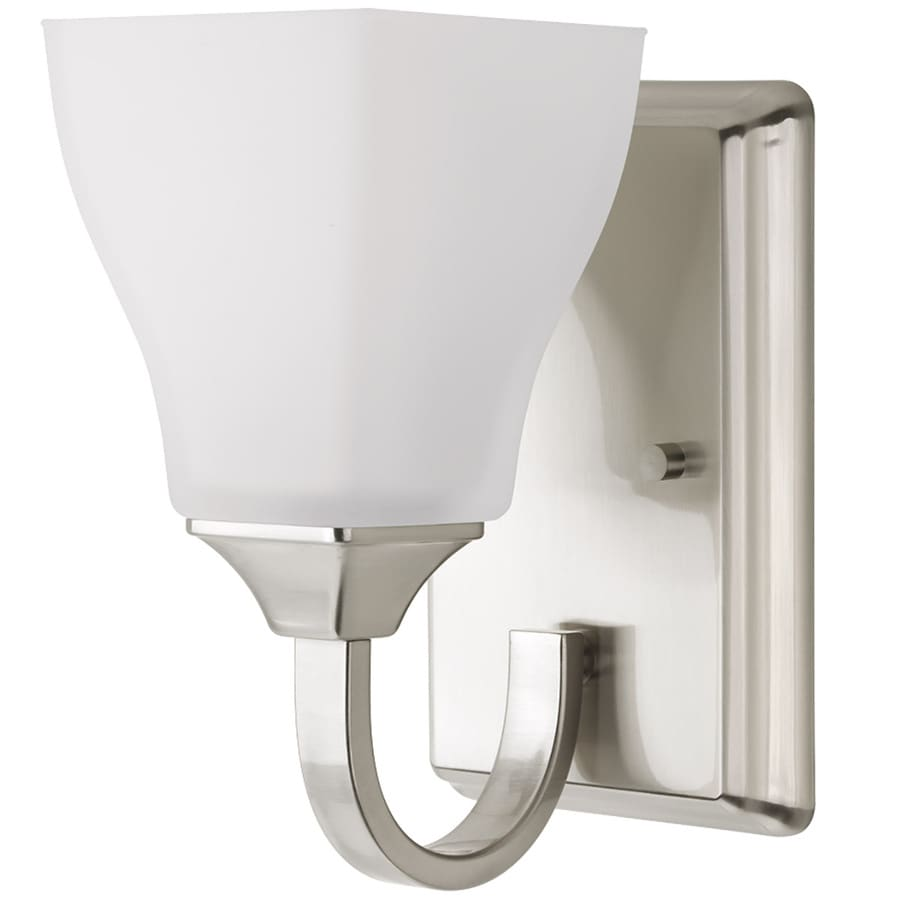 Delta olmsted 1 light 5 in brushed nickel square vanity - 8 light bathroom fixture brushed nickel ...