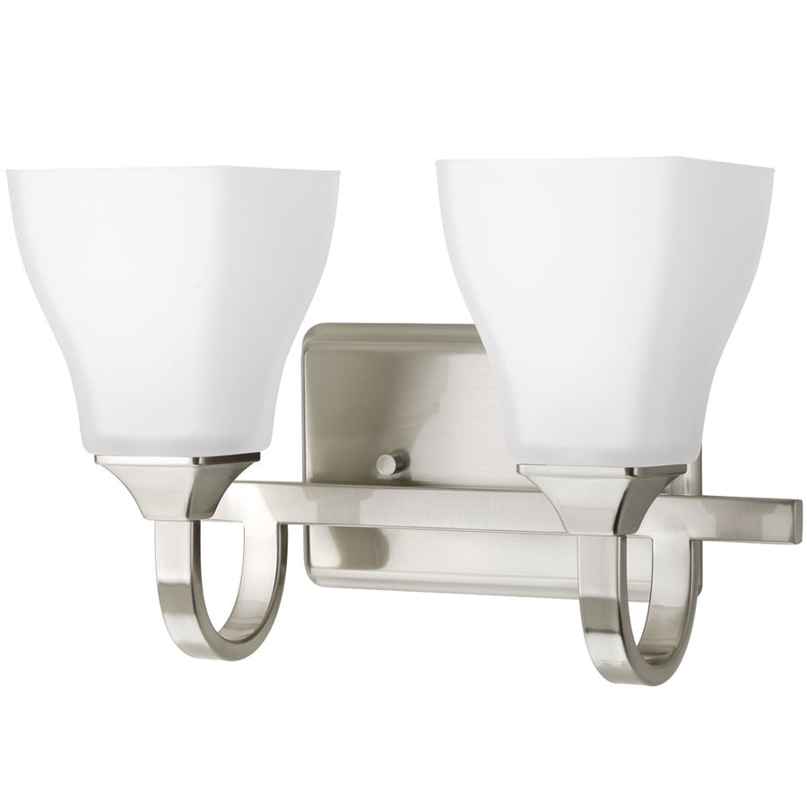 Shop delta olmsted 2 light brushed nickel square vanity - 8 light bathroom fixture brushed nickel ...