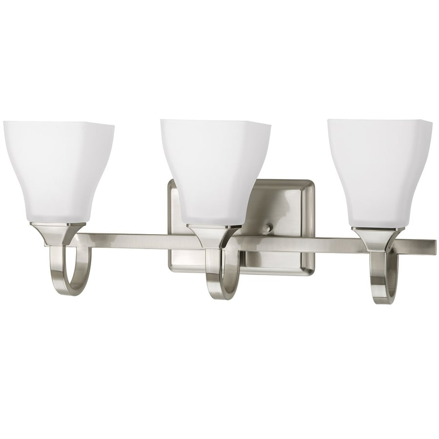 Vanity Lights For Bathroom DELTA Olmsted 3-Light 21-in Brushed Nickel Square Vanity Light