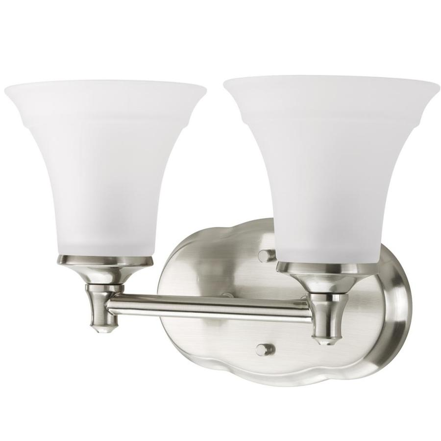 delta bathroom lighting shop delta lorain 2 light 13 5 in brushed nickel bell 12655