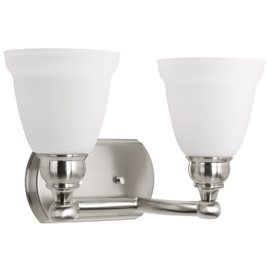 delta bathroom lighting shop delta windemere 2 light 14 75 in brushed nickel bell 12655