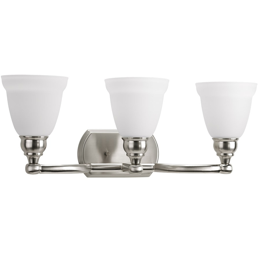 delta bathroom lighting shop delta windemere 3 light 8 8125 in brushed nickel bell 12655