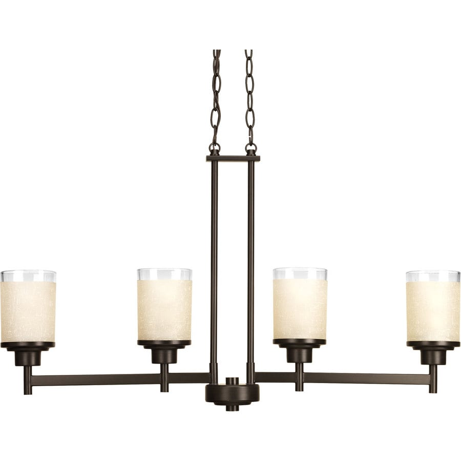 Progress Lighting Alexa 4.5-in 5-Light Antique Bronze Etched Glass Shaded Chandelier