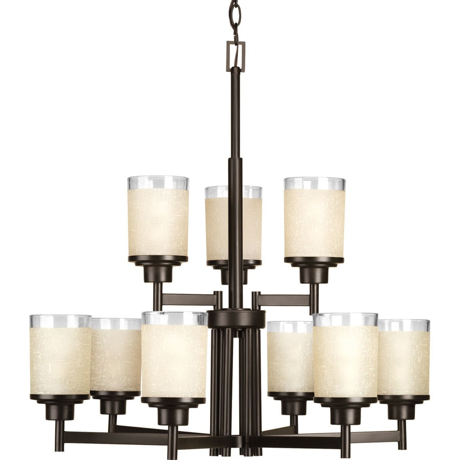 shop progress lighting alexa 28 in 9 light antique bronze etched