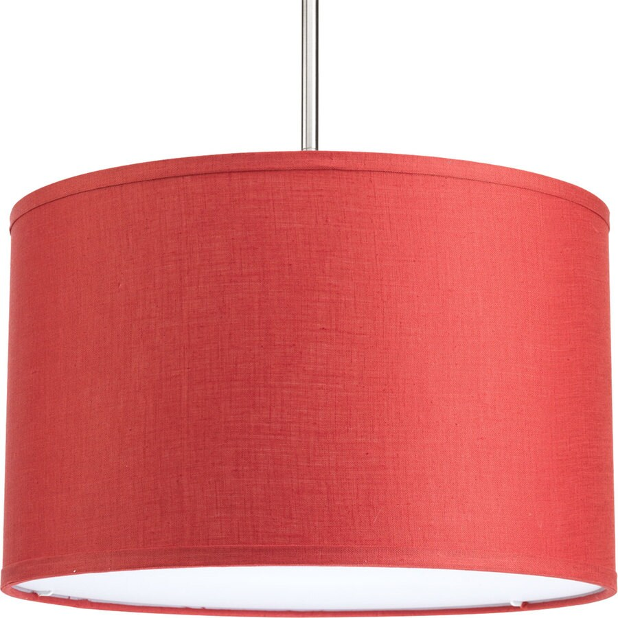Progress Lighting Markor 10-in H 16-in W Crimson Fabric Cylinder Pendant Light Shade