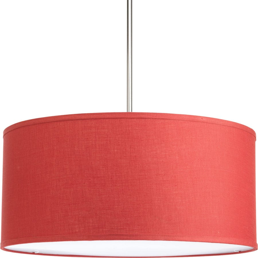 Progress Lighting Markor 10-in H 22-in W Crimson Fabric Cylinder Pendant Light Shade