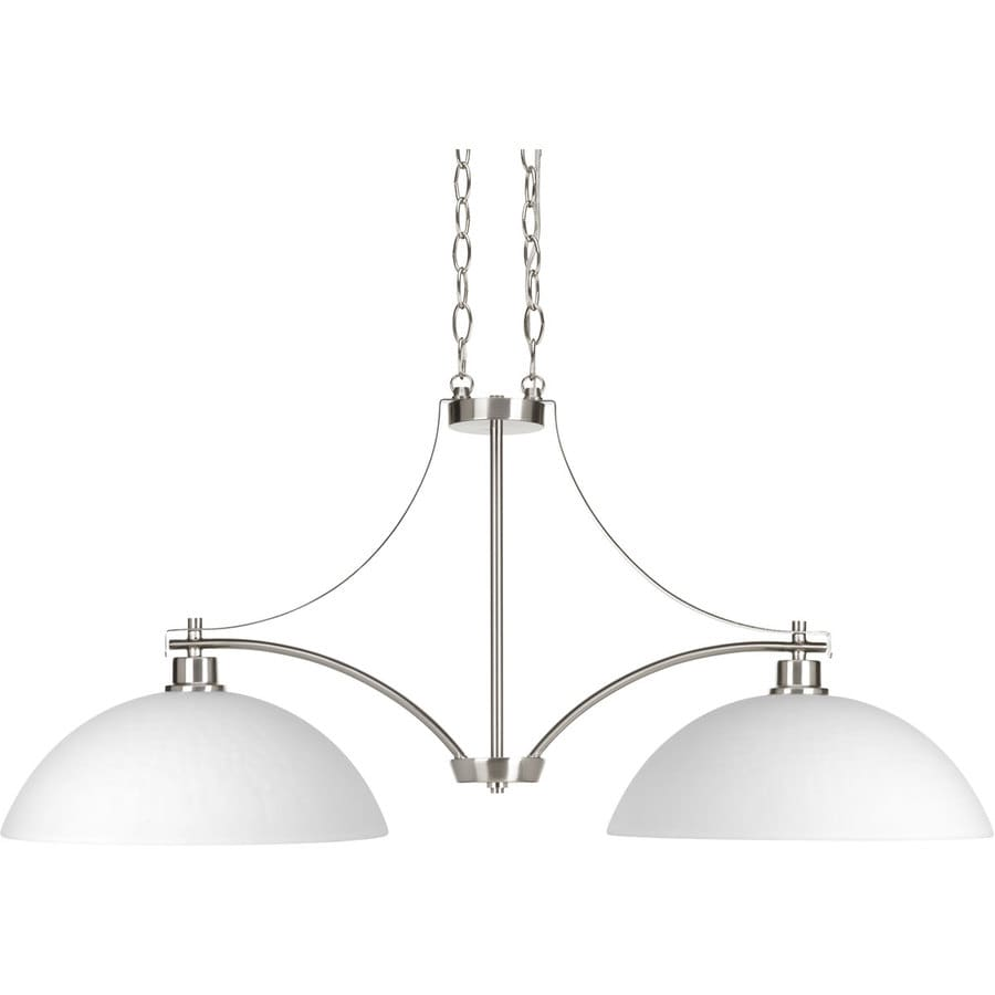 Progress Lighting Legend 14-in 2-Light Brushed nickel Etched Glass Shaded Chandelier