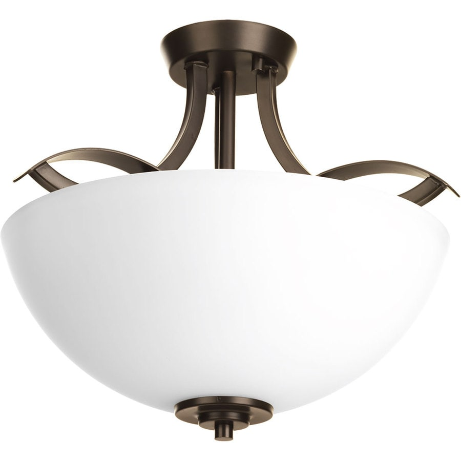 Progress Lighting Merge 14.625-in W Antique Bronze Etched Glass Semi-Flush Mount Light