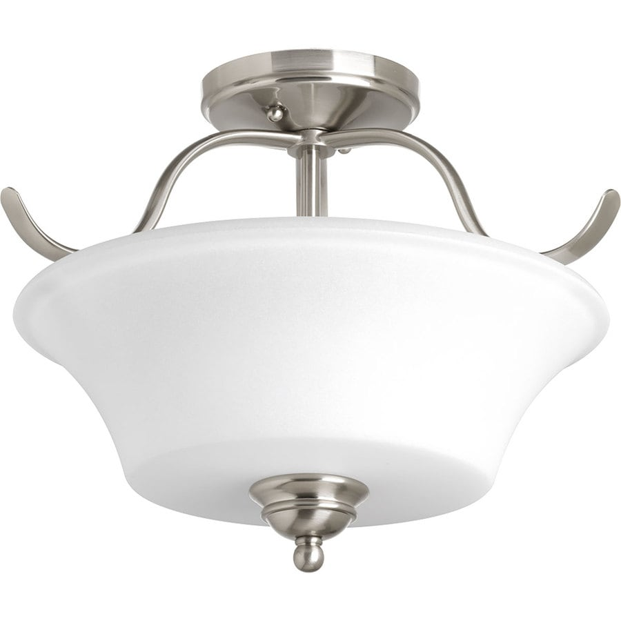 Progress Lighting Applause 15.75-in W Brushed Nickel Etched Glass Semi-Flush Mount Light