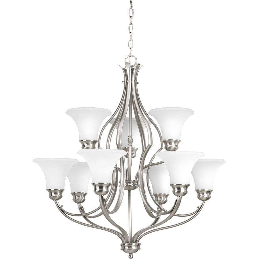 Progress Lighting Applause 29.25-in 9-Light Brushed Nickel Etched Glass Tiered Chandelier