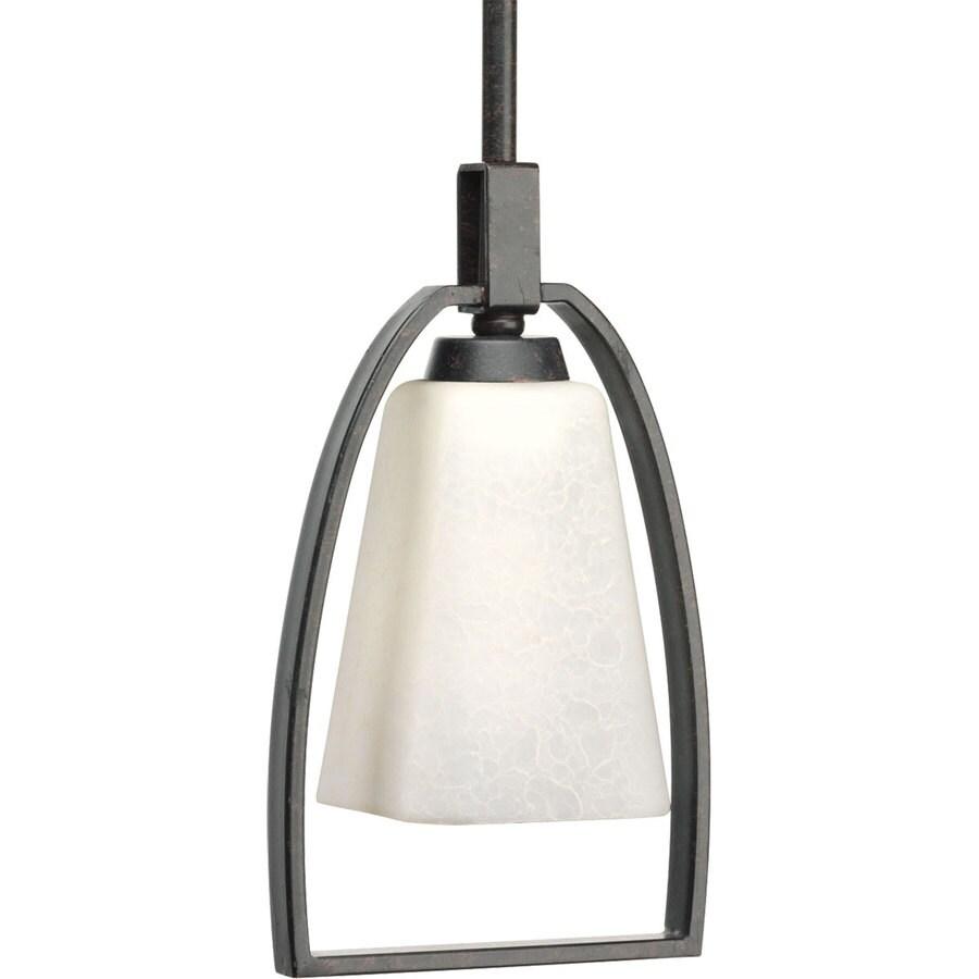 Progress Lighting Ridge 6.25-in Espresso Mini Etched Glass Cage Pendant